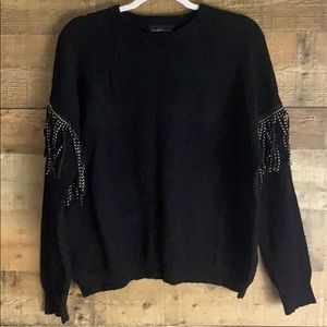 Mustard Seed black studded fringe sweater Large